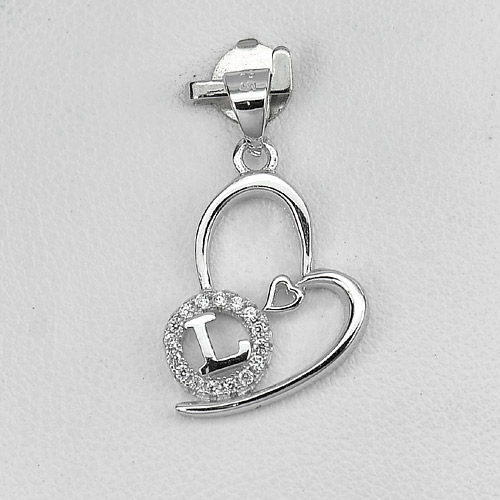 1.08 G. Real 925 Sterling Silver Jewelry Initial Alphabet L in Heart Pendant