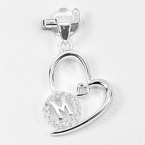 1.15 G. Initial Alphabet M in Heart Jewelry Real 925 Sterling Silver Pendant