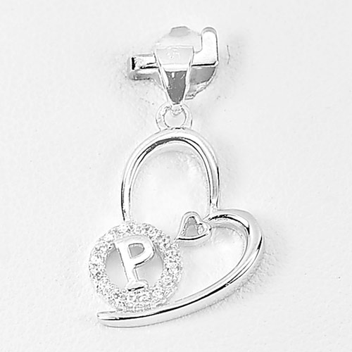 1.12 G. Initial Alphabet P in Heart with Cz Real 925 Sterling Silver Pendant