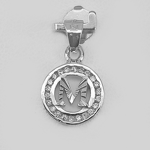 1.10 G. Letter M in Circle Design Good Jewelry Real 925 Sterling Silver Pendant