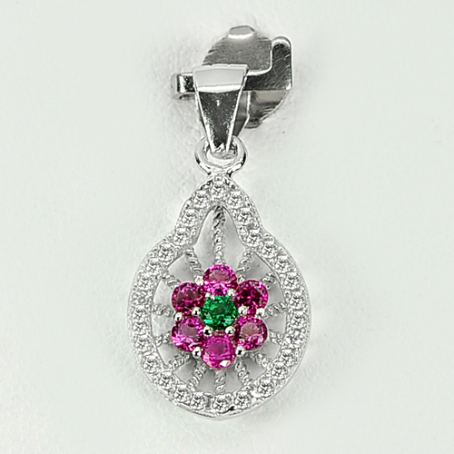 1.40 G. Flower Design Green Pink CZ Real 925 Sterling Silver Jewelry Pendant