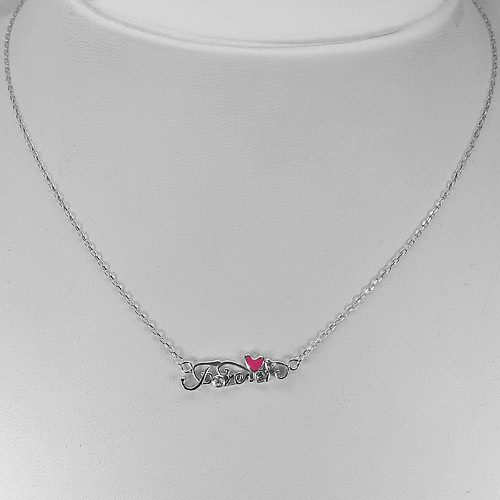 2.20G.Forever and Heart Pink Enamel Design 925 Sterling Silver Necklace 14 Inch.