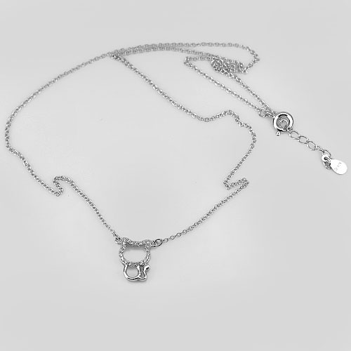 2.40 G. Charming 925 Sterling Silver Kitty Jewelry Necklace Length 18 Inch.
