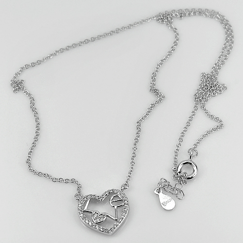 2.50 G. Love In Heart Design White CZ Real 925 Sterling Silver Necklace 18 Inch.