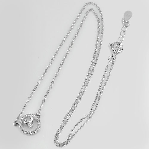 2.10 G. Good Round White CZ Real 925 Sterling Silver Nceklace Length 18 Inch.