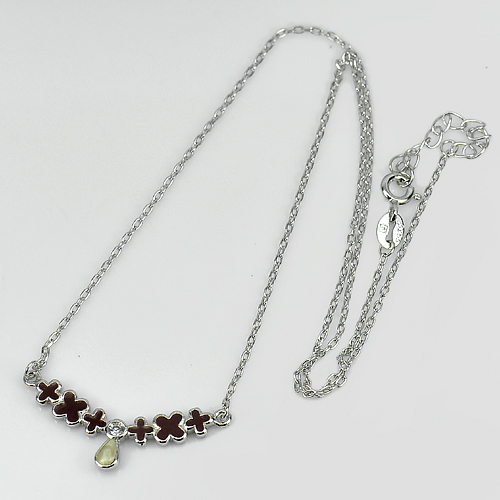 2.30 G. Round White CZ Real 925 Sterling Silver Necklace Length 14 Inch. Enamel