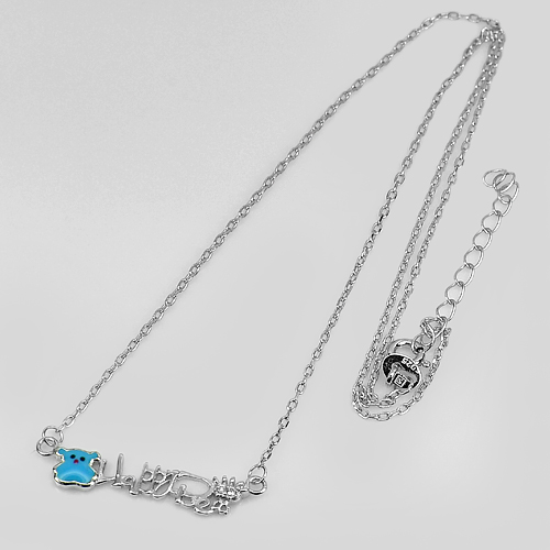 2.21G.Nice Letter Happy Bear Design 925 Sterling Silver Necklace Length 14 Inch.