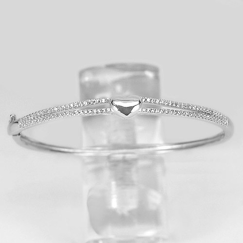 10.50 G. Round White CZ Real 925 Sterling Silver Jewelry Bangle Diameter 57 mm.