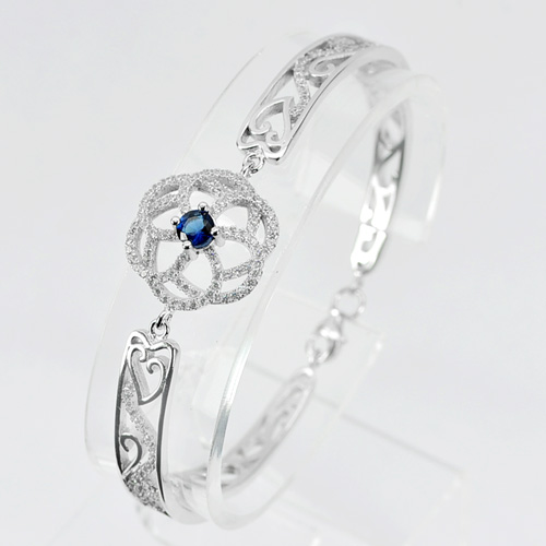 12.87 G. Real 925 Sterling Silver Fashion Jewelry Bangle Round Blue CZ