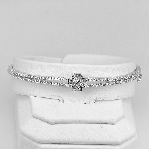 7.08 G. Beautiful White CZ Round Real 925 Sterling Silver Jewelry Bangle