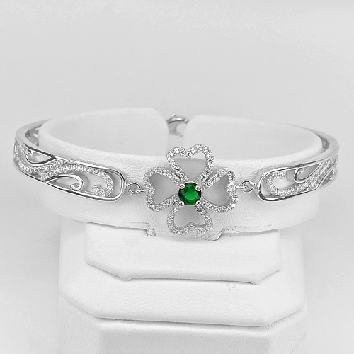 14.20 G. Beautiful Flower Heart Design Real 925 Sterling Silver Jewelry Bangle