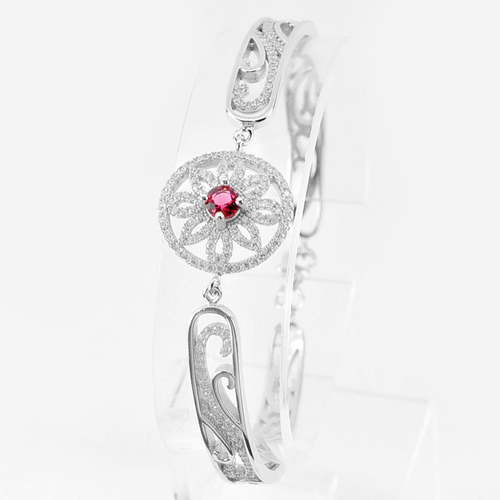 15.00 G. Flower in Circle Design Real 925 Sterling Silver Jewelry Bangle