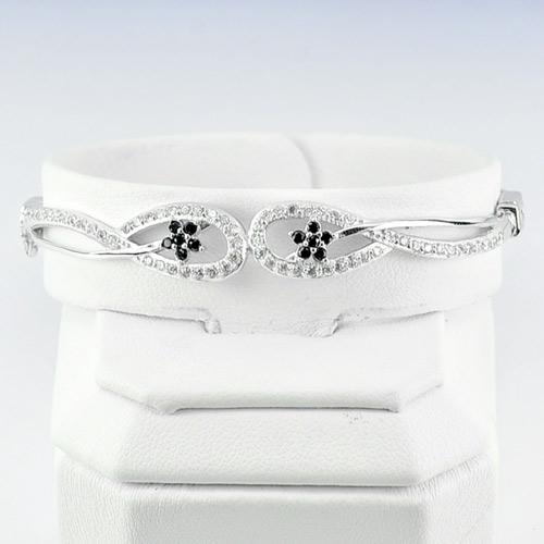 10.00 G. Real 925 Sterling Silver White Gold Plated Bangle Diameter 55 mm.