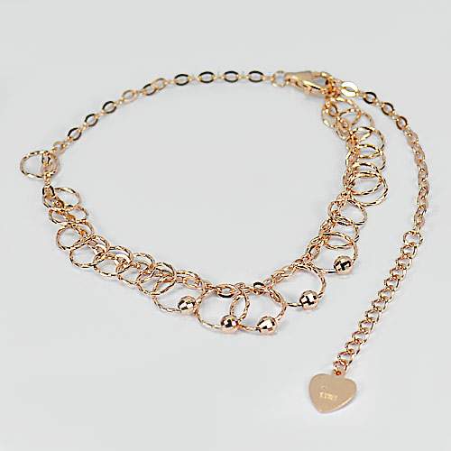 2.92 G. Real 925 Sterling Silver Pink Rose Gold Bracelet Jewelry Length 9 Inch.