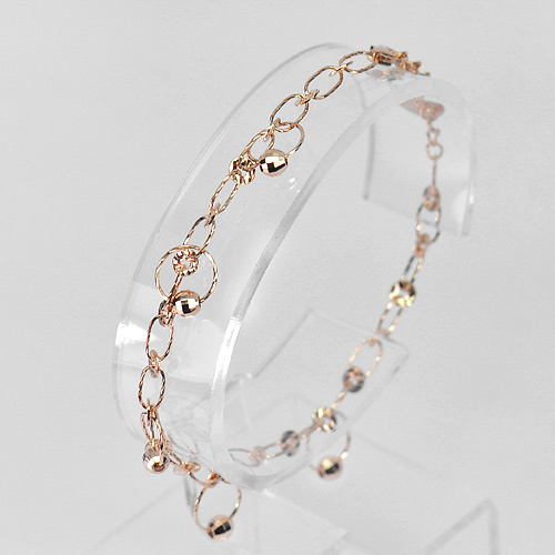 3.24 G. Real 925 Silver Sterling Pink Plated Jewelry Bracelet Length 6.5 Inch.