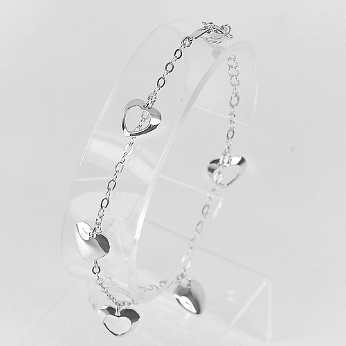 2.63 G. Real 925 Silver Sterling Jewelry Heart Bracelet Length 7 Inch.