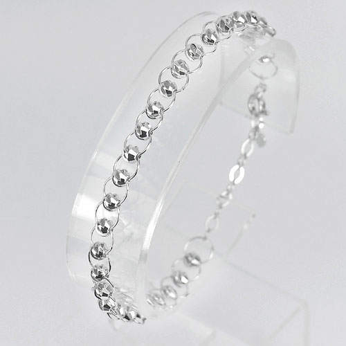3.86 G. Ball on the Loop Design Real 925 Sterling Silver Bracelet Length 7 Inch.