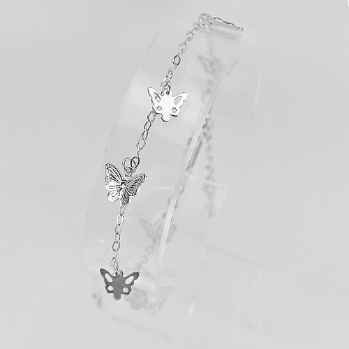 3.33 G. Real 925 Sterling Silver Jewelry Bracelet Butterfly Length 7 Inch.