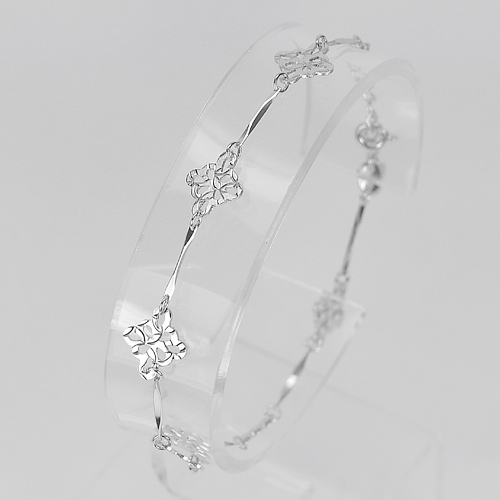 2.42 G. Fashion Design Real 925 Sterling Silver Jewelry Bracelet Length 7 Inch.