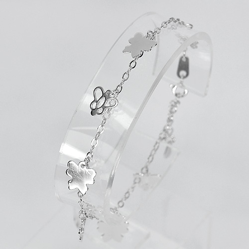 3.20 G. Real 925 Sterling Silver Jewelry Bracelet Butterfly Length 7 Inch.