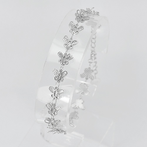 4.43 G. Real 925 Sterling Silver Butterfly Jewelry Bracelet Length 7 Inch.