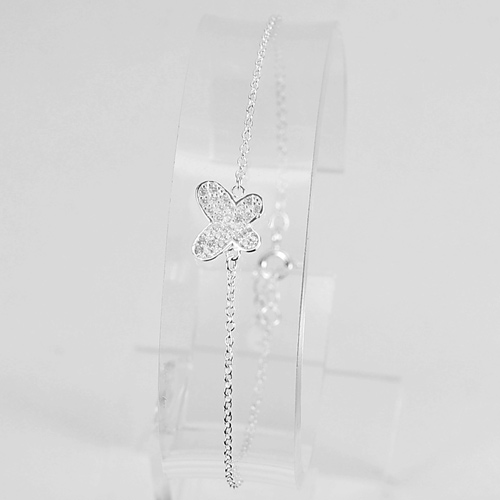 1.37 G. Good Butterfly with CZ White Real 925 Silver Sterling Bracelet 6.5 Inch.