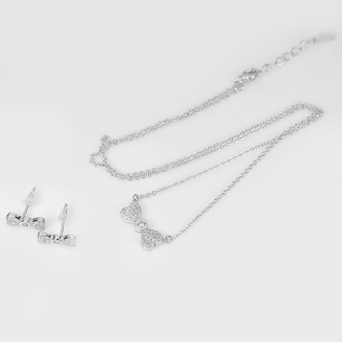 3.30 G. Jewelry Set Real 925 Sterling Silver Earrings and Necklace 17 Inch.