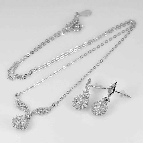 4.70 G.Beautiful Real 925 Sterling Silver Jewelry Necklace 18 Inch. And Earrings