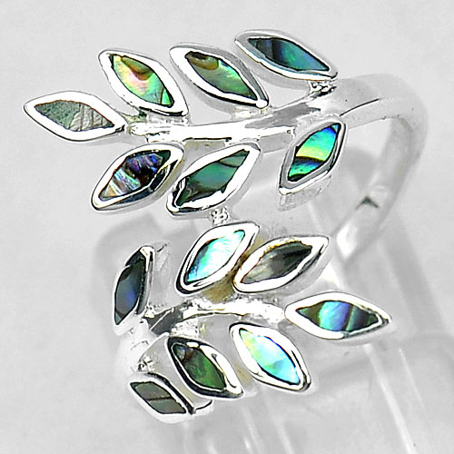 Multi Color Shell 925 Sterling Silver Olive Leaf Design Jewelry Ring Size 7
