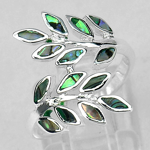 Beautiful Color Shell Olive Leaf Design 925 Sterling Silver Ring Size 7