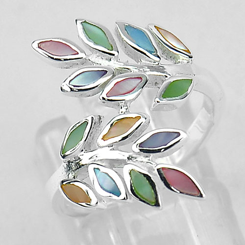 Nice 925 Sterling Silver Marquise Cab Shell Olive Leaf Design Ring Size 6