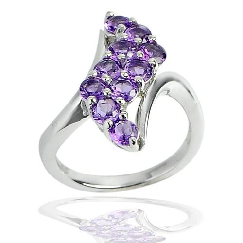 5.10 G. Natural Gemstones Purple Amethyst Real 925 Sterling Silver Ring Size 7