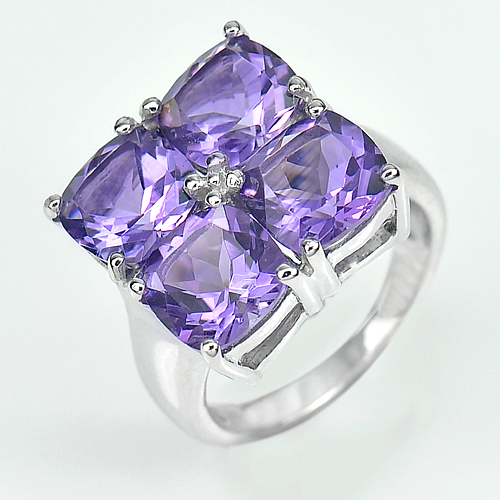 Natural Purple Amethyst Real 925 Sterling Silver White Gold Plated Ring Size 7