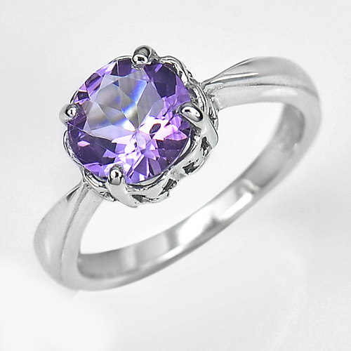 3.12 G. Natural Purple Amethyst Real 925 Sterling Silver Jewelry Ring Size 7