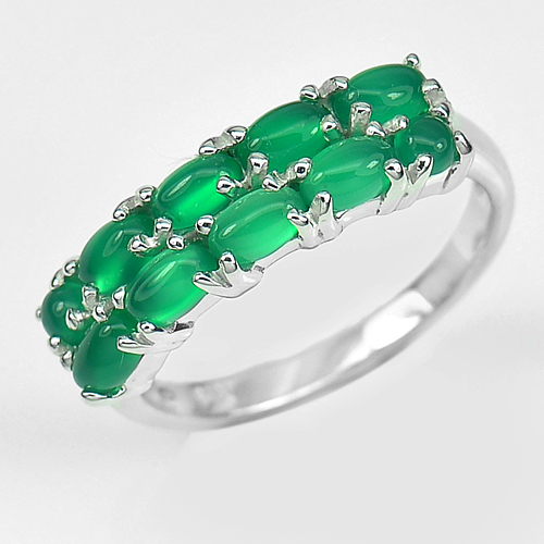 Natural Green Aventurine Real 925 Sterling Silver White Gold Plated Ring Size 9