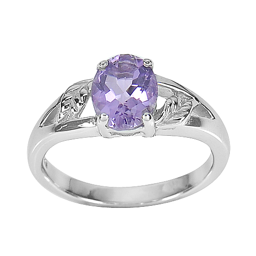 4.04 G. Natural Amethyst Real 925 Sterling Silver White Gold Plated Ring Size 8