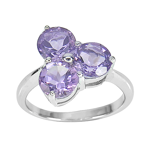3.83 G. Natural Amethyst Real 925 Sterling Silver White Gold Plated Ring Size 7