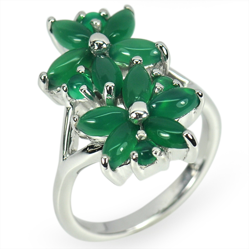 6.60 G.Natural Aventurine Real 925 Sterling Silver White Gold Plated Ring Size 7