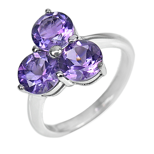 3.98 G. Natural Purple Amethyst Gems Real 925 Sterling Silver Ring Size 7