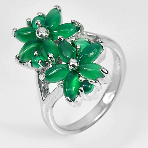 6.64 G. Natural Gemstone Green Aventurine Real 925 Sterling Silver Ring Size 7