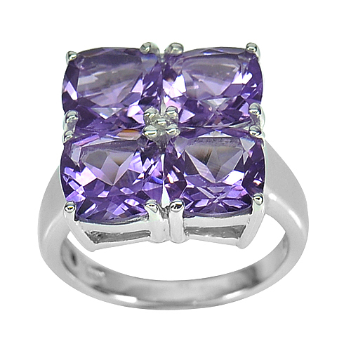8.01 G. Natural Gemstone Purple Amethyst Real 925 Sterling Silver Ring Size 8