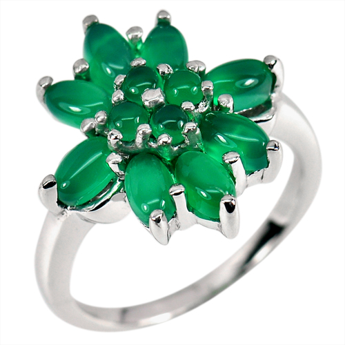 5.21 G. Natural Green Aventurine Real 925 Sterling Silver Jewelry Ring Size 7