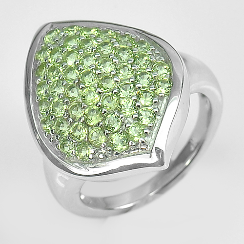 5.86 G. Natural Round Peridot Real 925 Sterling Silver Fine Jewelry Ring Size 6