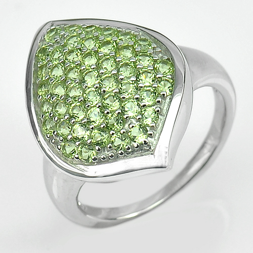 Natural Peridot RD 2 Mm. Real 925 Sterling Silver White Gold Plated Ring Size 8