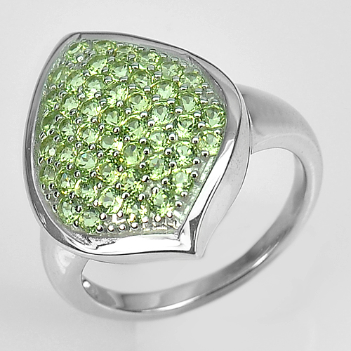 5.89 G. Natural Peridot Real 925 Sterling Silver White Gold Plated Ring Size 8.5