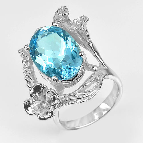 10.87 G. Natural Blue Topaz Gem Real 925 Sterling Silver Beautiful Ring Size 7