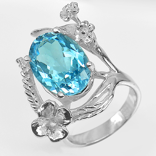 10.65 G. Beautiful Natural Gem  Blue Topaz Real 925 Sterling Silver Ring Size 8