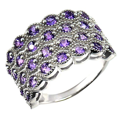 Natural Amethyst Real 925 Sterling Silver White Gold Plated Ring Size 10