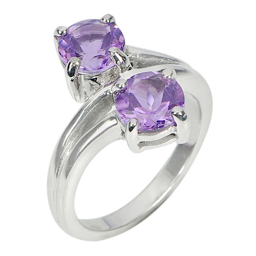 5.49 G. Round Purple Natural Gems Amethyst Real 925 Sterling Silver Ring Size 7