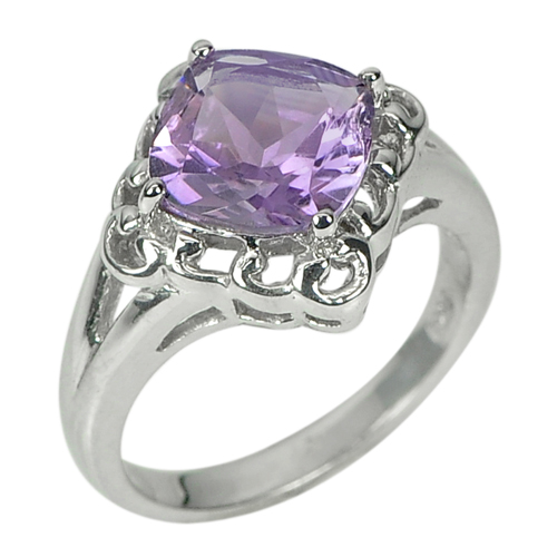 4.81 G. Natural Gem Amethyst Real 925 Sterling Silver Fine Jewelry Ring Size 7